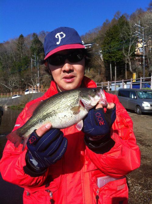 山中湖で釣れたバス須江物持ち